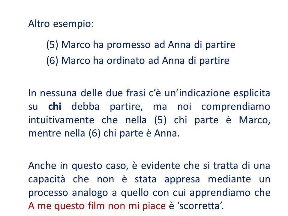 (5) Marco ha promesso ad Anna di partire