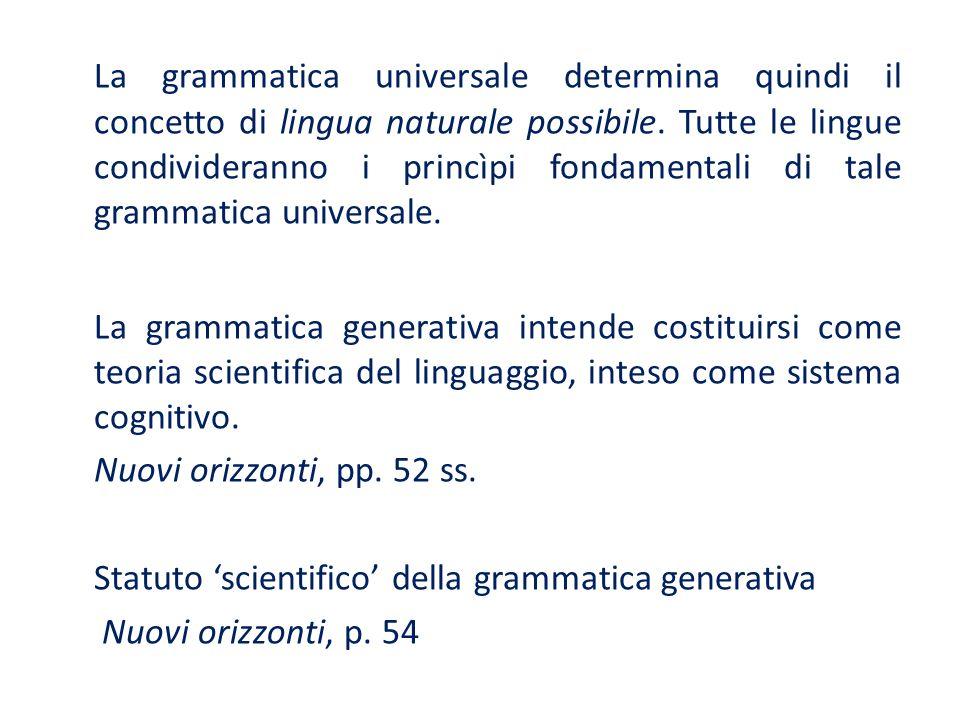 La grammatica universale determina quindi il concetto di lingua naturale possibile. Tutte le lingue condivideranno i princìpi fondamentali di tale grammatica universale.