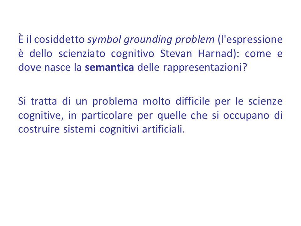 È il cosiddetto symbol grounding problem (l espressione è dello scienziato cognitivo Stevan Harnad): come e dove nasce la semantica delle rappresentazioni.