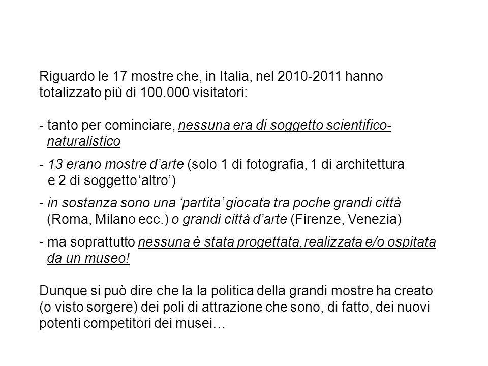 Riguardo le 17 mostre che, in Italia, nel 2010-2011 hanno totalizzato più di 100.000 visitatori: