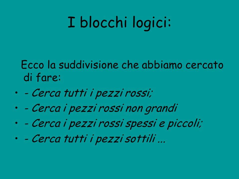 I blocchi logici: Ecco la suddivisione che abbiamo cercato di fare: