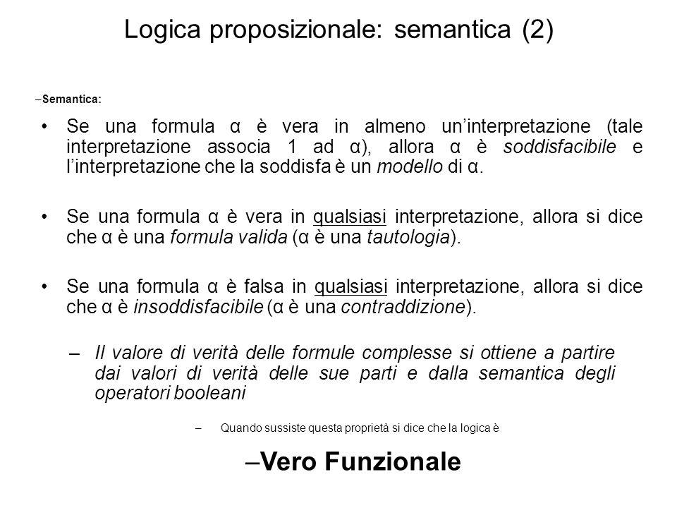 Logica proposizionale: semantica (2)