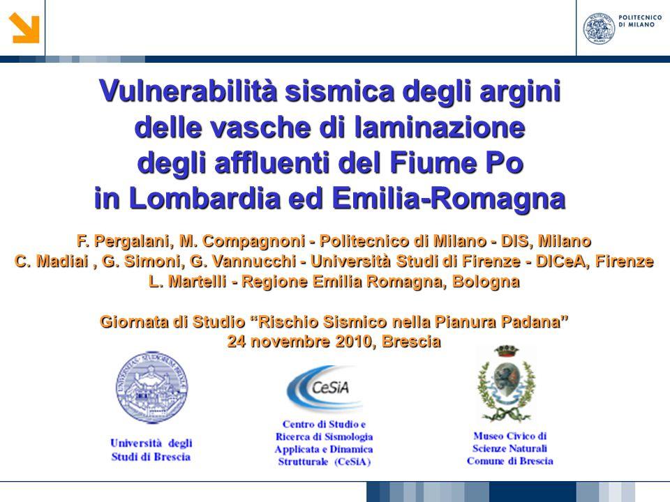 Vulnerabilità sismica degli argini delle vasche di laminazione