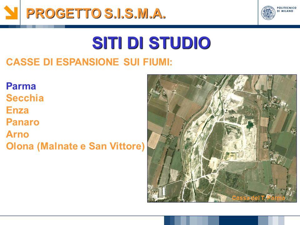 SITI DI STUDIO PROGETTO S.I.S.M.A. CASSE DI ESPANSIONE SUI FIUMI:
