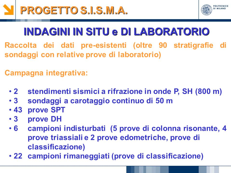 INDAGINI IN SITU e DI LABORATORIO