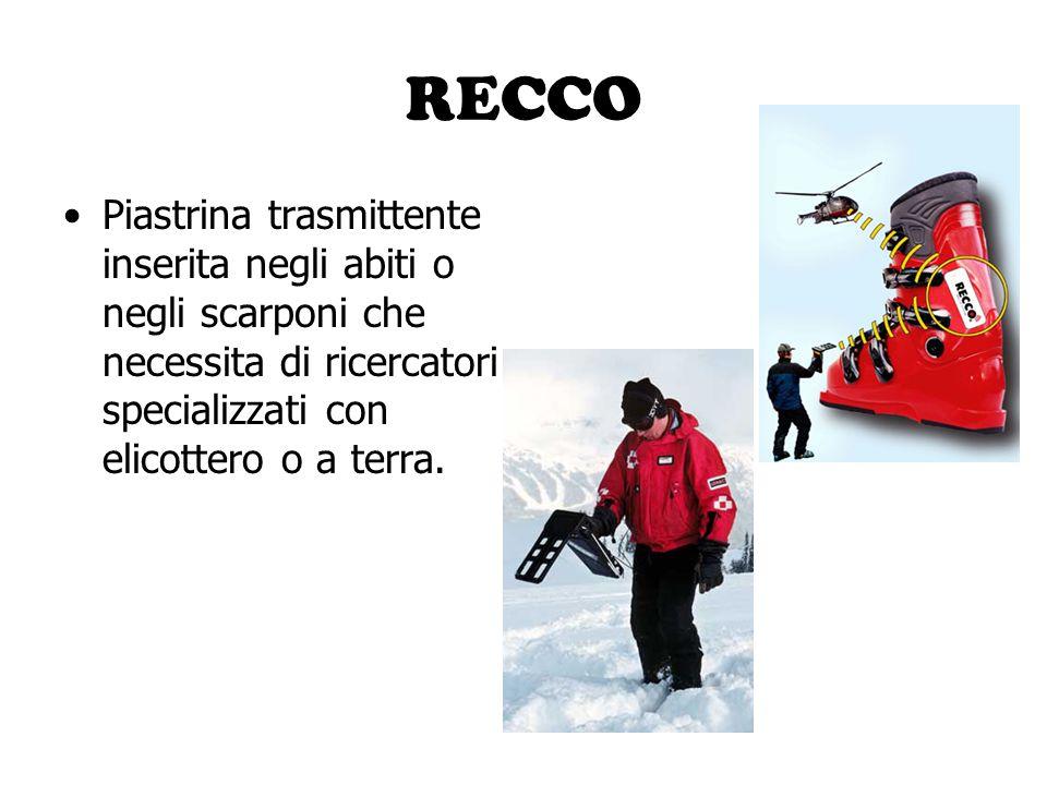 RECCO Piastrina trasmittente inserita negli abiti o negli scarponi che necessita di ricercatori specializzati con elicottero o a terra.