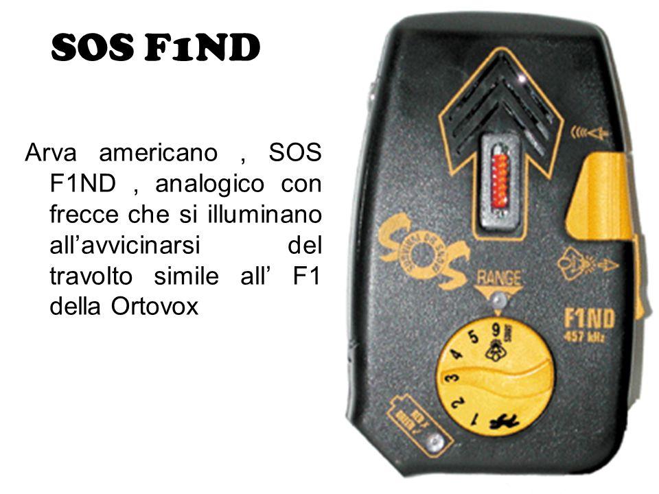 SOS F1ND Arva americano , SOS F1ND , analogico con frecce che si illuminano all'avvicinarsi del travolto simile all' F1 della Ortovox.
