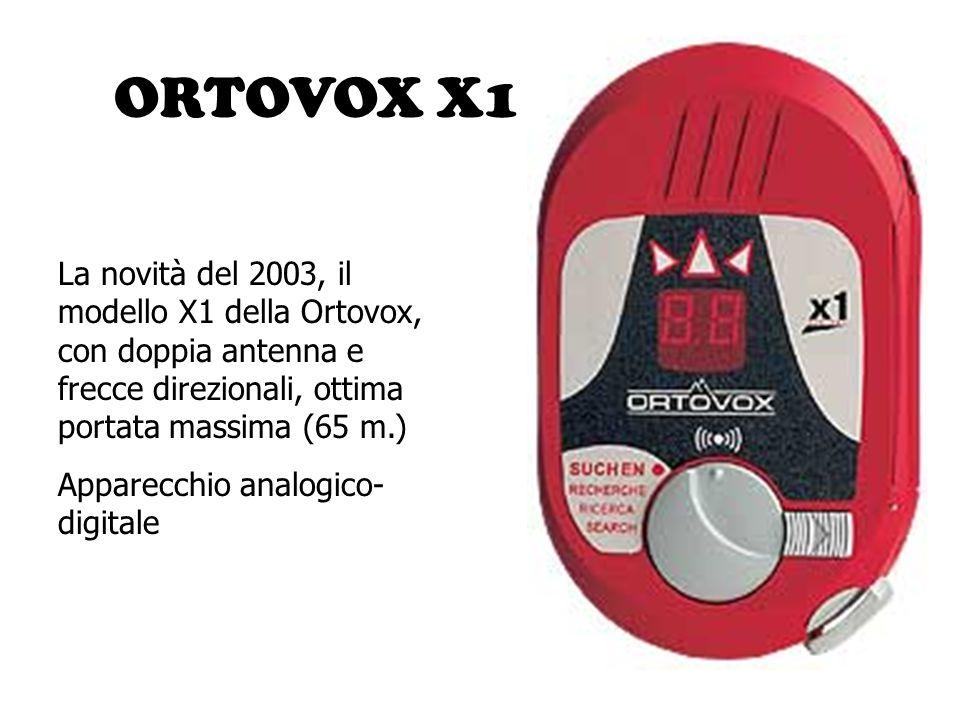 ORTOVOX X1 La novità del 2003, il modello X1 della Ortovox, con doppia antenna e frecce direzionali, ottima portata massima (65 m.)