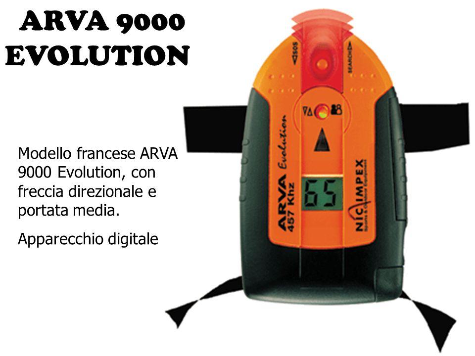 ARVA 9000 EVOLUTION Modello francese ARVA 9000 Evolution, con freccia direzionale e portata media.