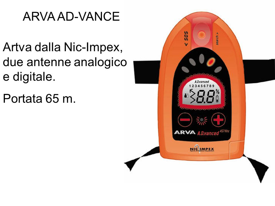 ARVA AD-VANCE Artva dalla Nic-Impex, due antenne analogico e digitale. Portata 65 m.