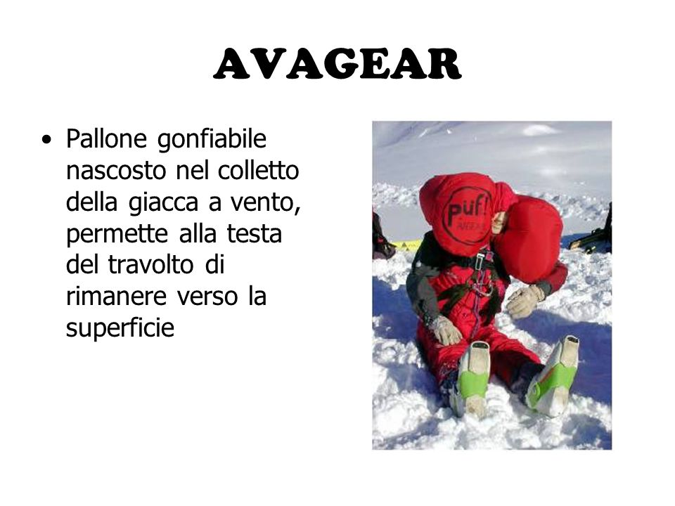 AVAGEAR Pallone gonfiabile nascosto nel colletto della giacca a vento, permette alla testa del travolto di rimanere verso la superficie.