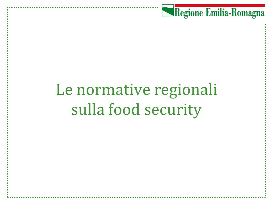 Le normative regionali sulla food security