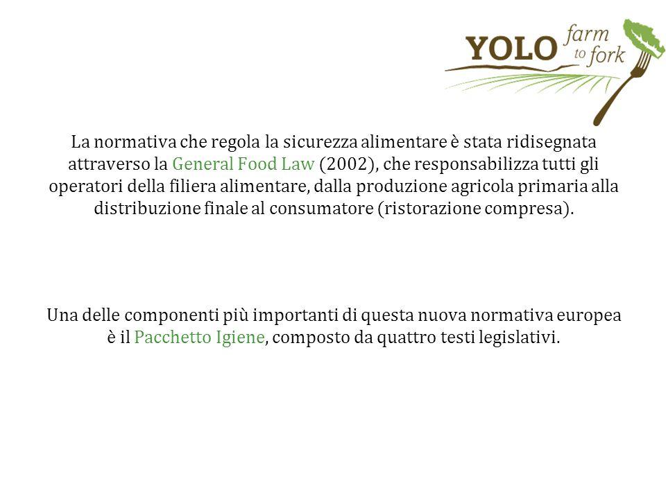 La normativa che regola la sicurezza alimentare è stata ridisegnata attraverso la General Food Law (2002), che responsabilizza tutti gli operatori della filiera alimentare, dalla produzione agricola primaria alla distribuzione finale al consumatore (ristorazione compresa).
