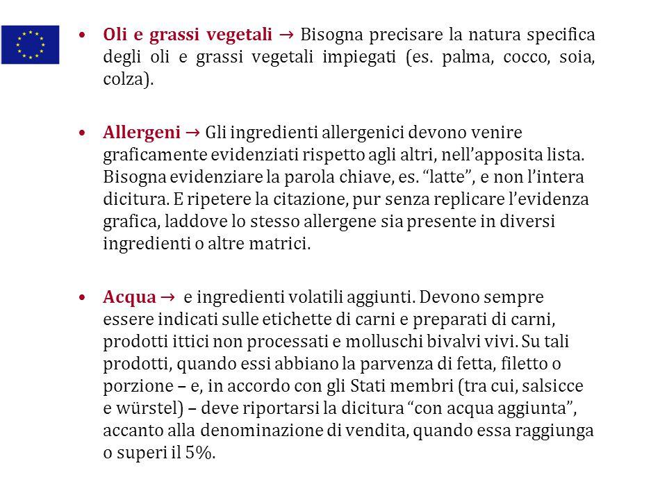 Oli e grassi vegetali → Bisogna precisare la natura specifica degli oli e grassi vegetali impiegati (es. palma, cocco, soia, colza).
