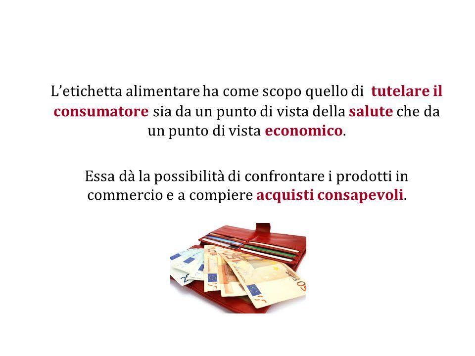 L'etichetta alimentare ha come scopo quello di tutelare il consumatore sia da un punto di vista della salute che da un punto di vista economico.