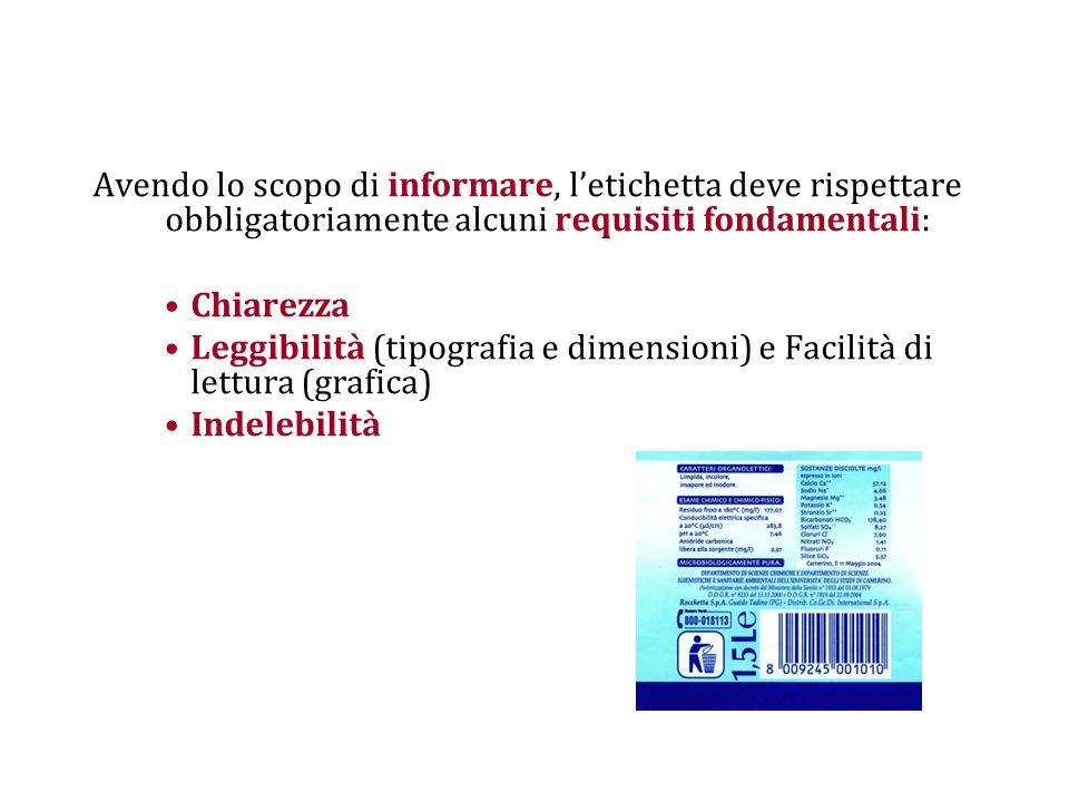 Avendo lo scopo di informare, l'etichetta deve rispettare obbligatoriamente alcuni requisiti fondamentali: