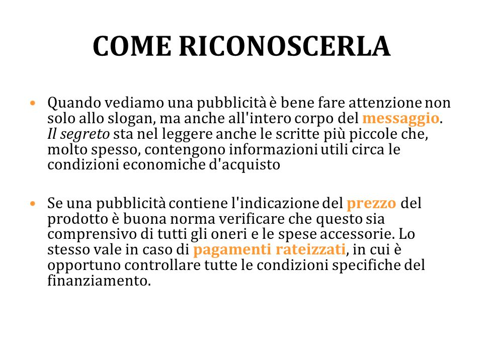 COME RICONOSCERLA