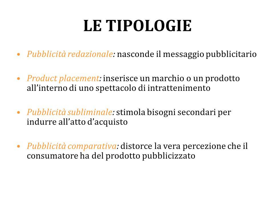 LE TIPOLOGIE Pubblicità redazionale: nasconde il messaggio pubblicitario.