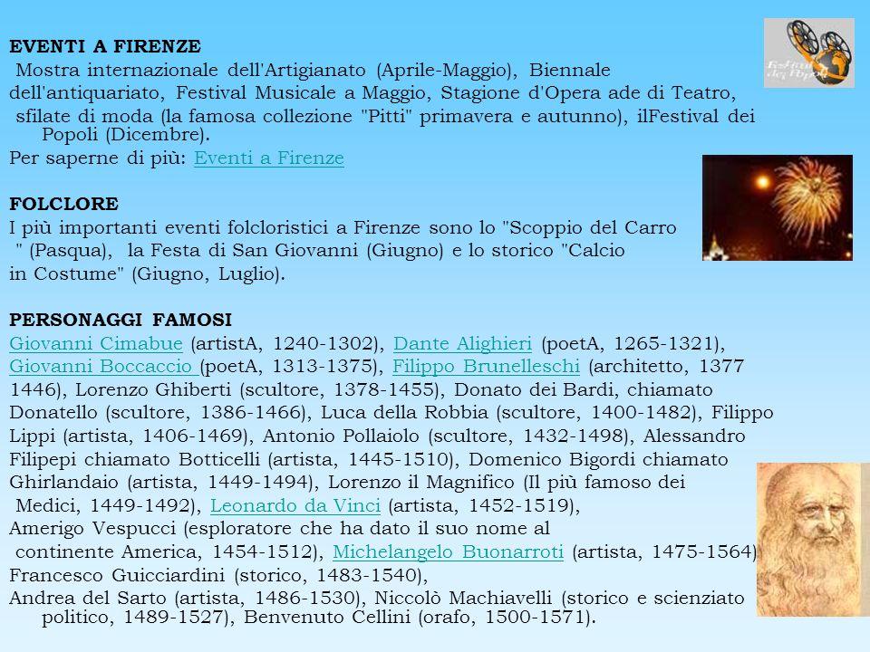 EVENTI A FIRENZE Mostra internazionale dell Artigianato (Aprile-Maggio), Biennale.
