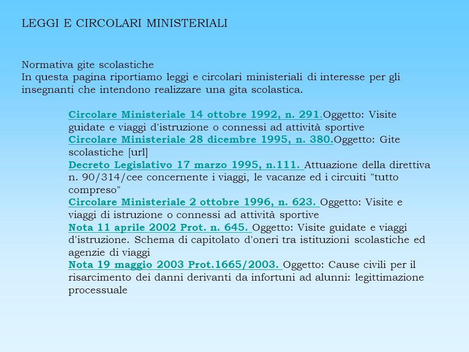 LEGGI E CIRCOLARI MINISTERIALI