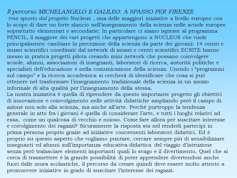 Il percorso MICHELANGELO E GALILEO: A SPASSO PER FIRENZE