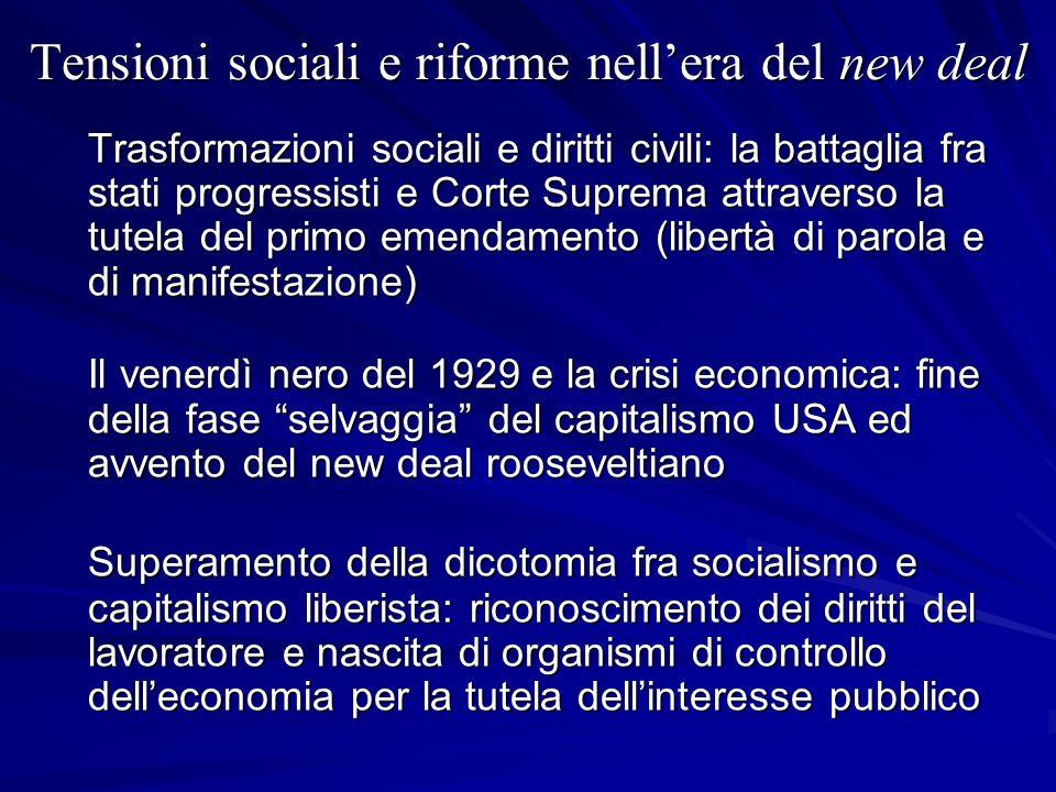 Tensioni sociali e riforme nell'era del new deal