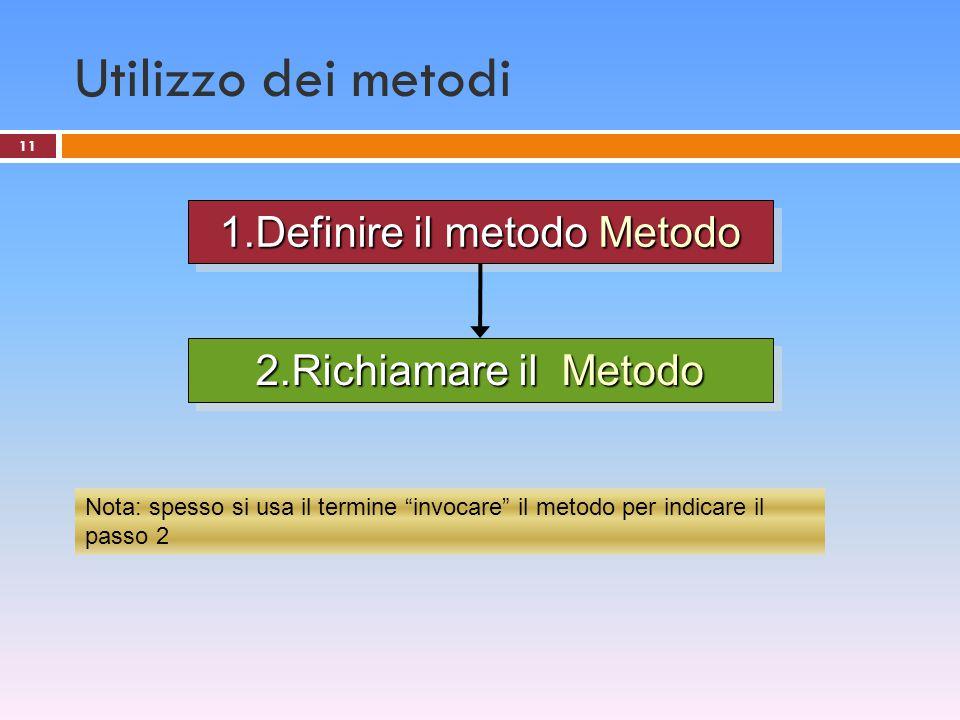 1.Definire il metodo Metodo