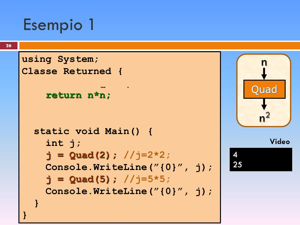 Esempio 1 n n2 using System; Classe Returned {