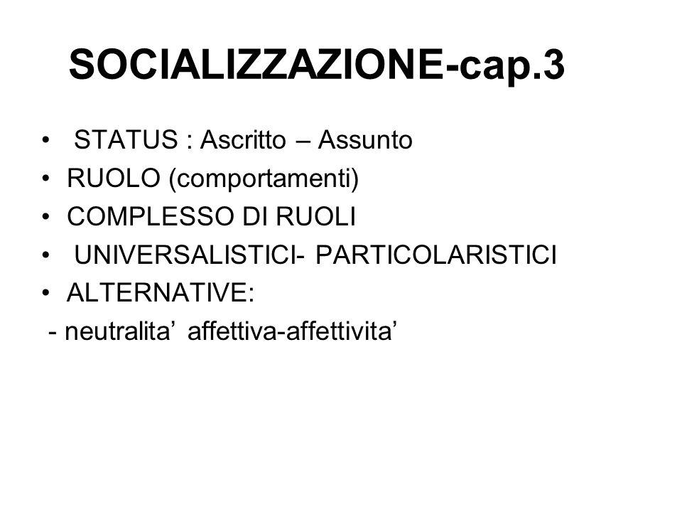 SOCIALIZZAZIONE-cap.3 STATUS : Ascritto – Assunto