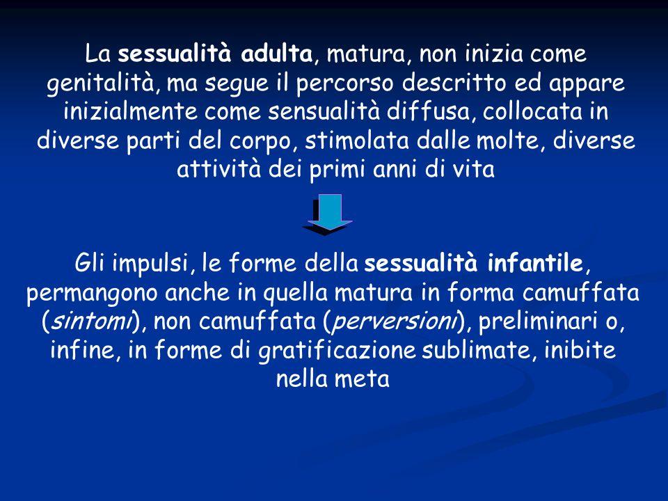 La sessualità adulta, matura, non inizia come genitalità, ma segue il percorso descritto ed appare inizialmente come sensualità diffusa, collocata in diverse parti del corpo, stimolata dalle molte, diverse attività dei primi anni di vita