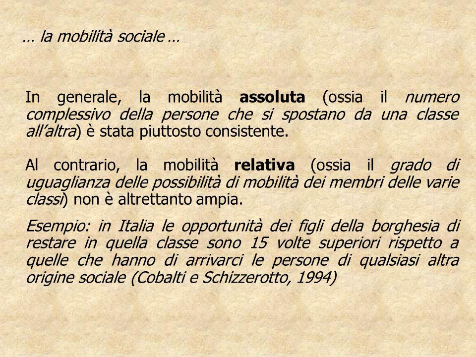 … la mobilità sociale …