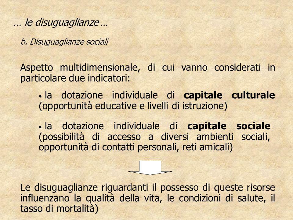 … le disuguaglianze … b. Disuguaglianze sociali. Aspetto multidimensionale, di cui vanno considerati in particolare due indicatori:
