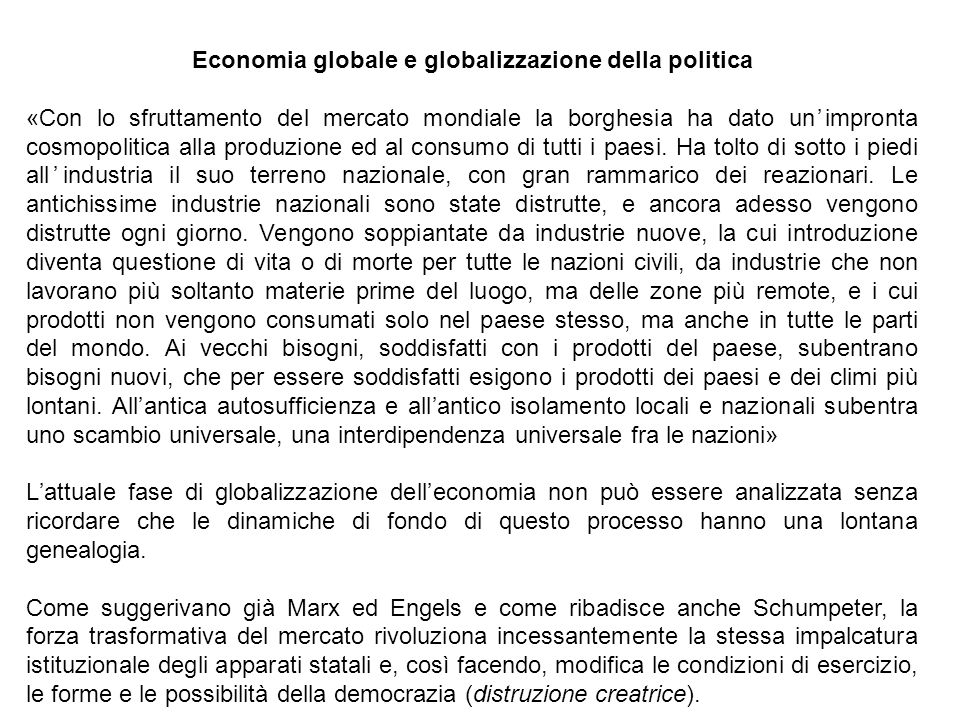 Economia globale e globalizzazione della politica
