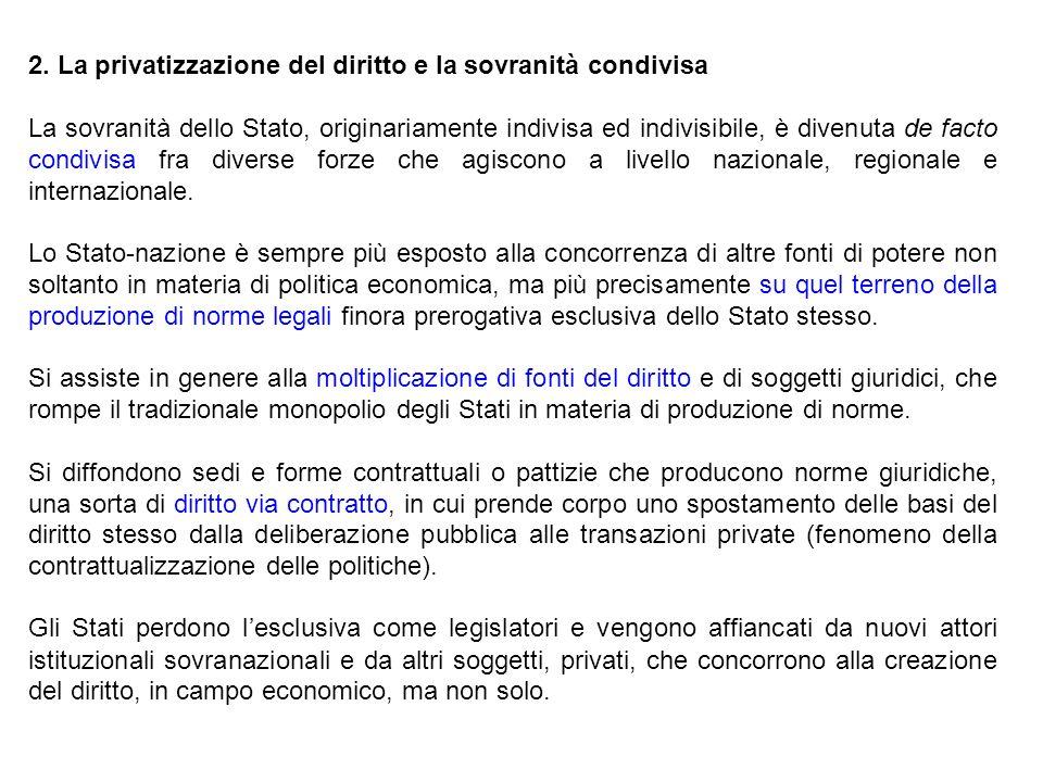 2. La privatizzazione del diritto e la sovranità condivisa