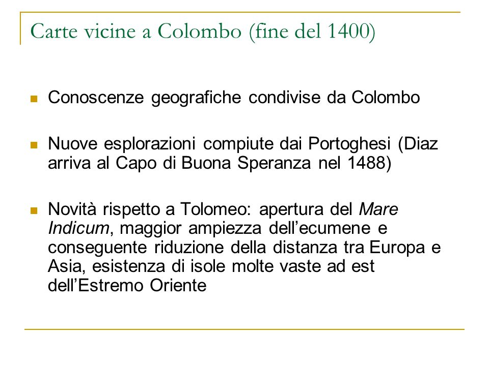 Carte vicine a Colombo (fine del 1400)