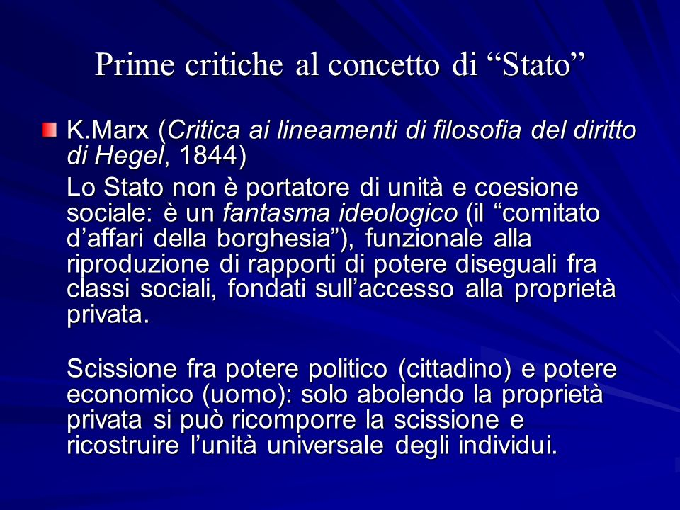 Prime critiche al concetto di Stato