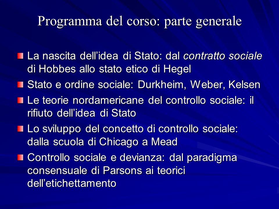 Programma del corso: parte generale