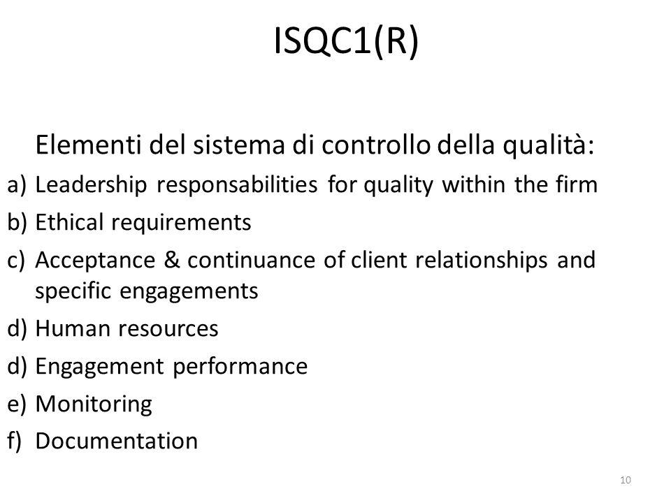 ISQC1(R) Elementi del sistema di controllo della qualità: