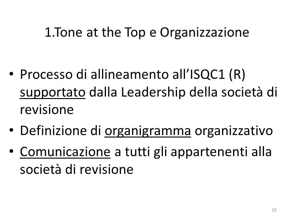 1.Tone at the Top e Organizzazione