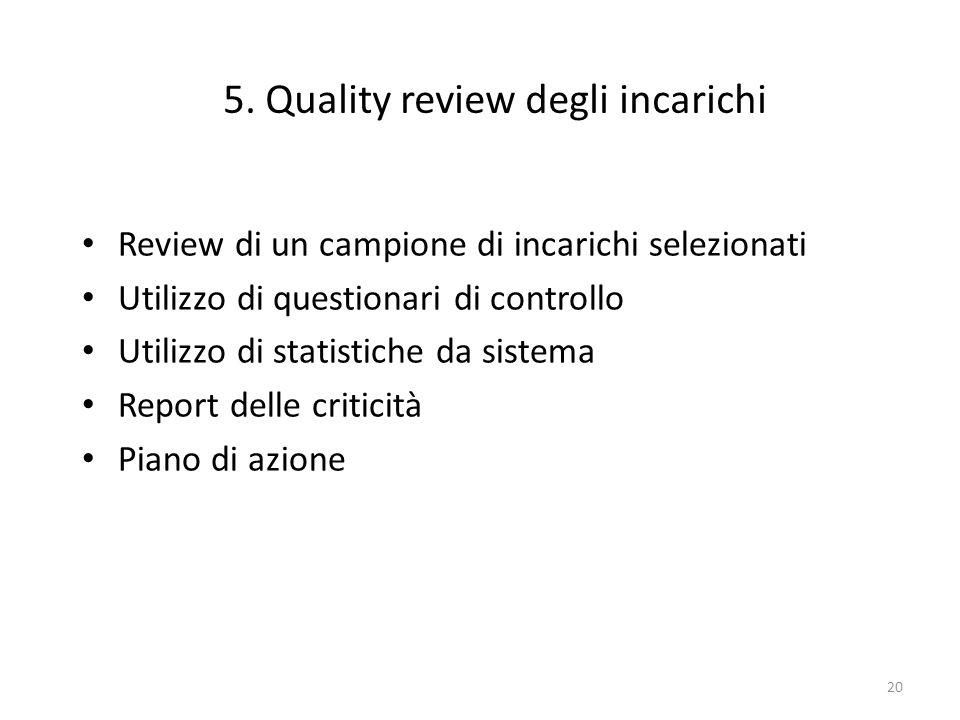 5. Quality review degli incarichi