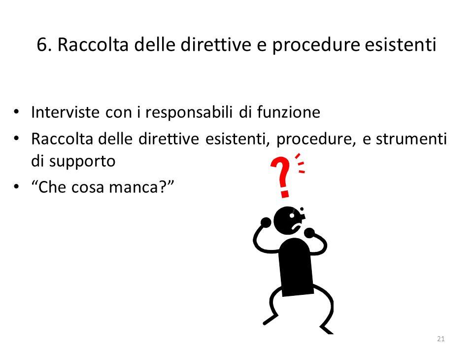 6. Raccolta delle direttive e procedure esistenti