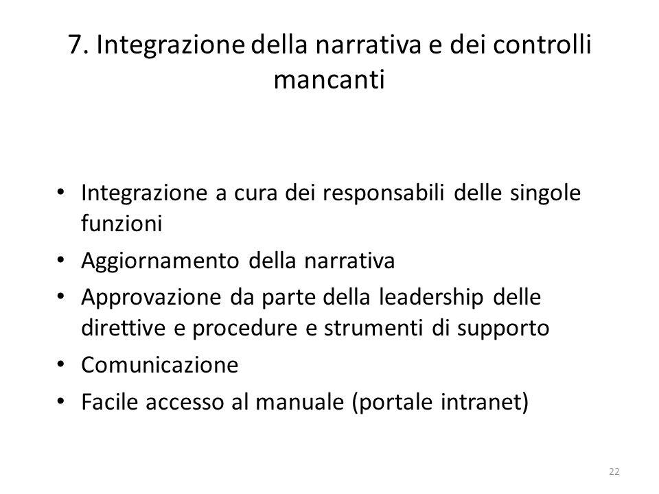 7. Integrazione della narrativa e dei controlli mancanti
