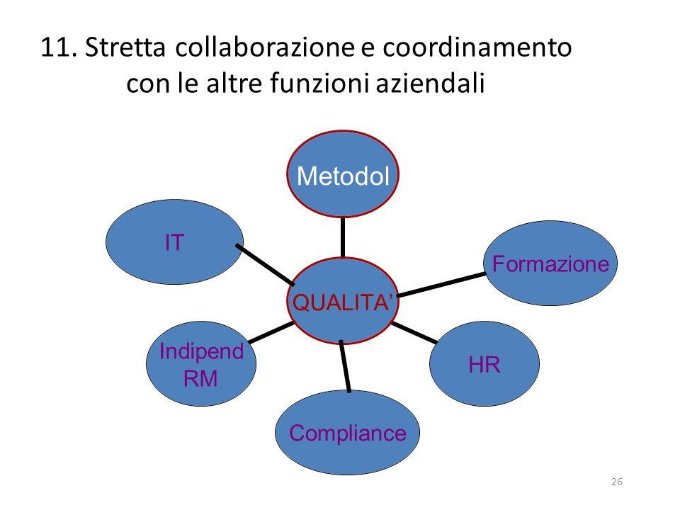 11. Stretta collaborazione e coordinamento con le altre funzioni aziendali