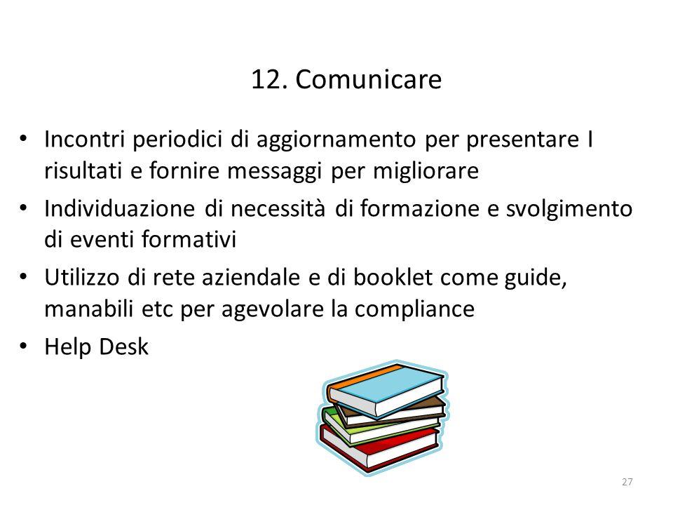 12. Comunicare Incontri periodici di aggiornamento per presentare I risultati e fornire messaggi per migliorare.