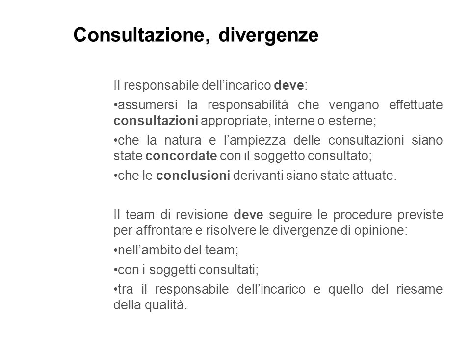 Consultazione, divergenze