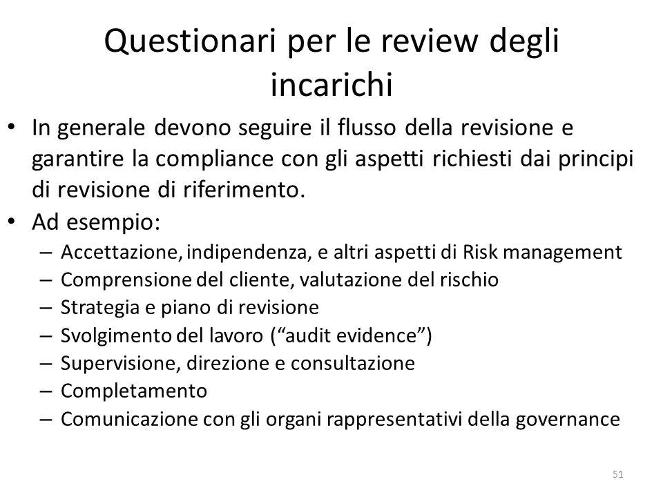 Questionari per le review degli incarichi