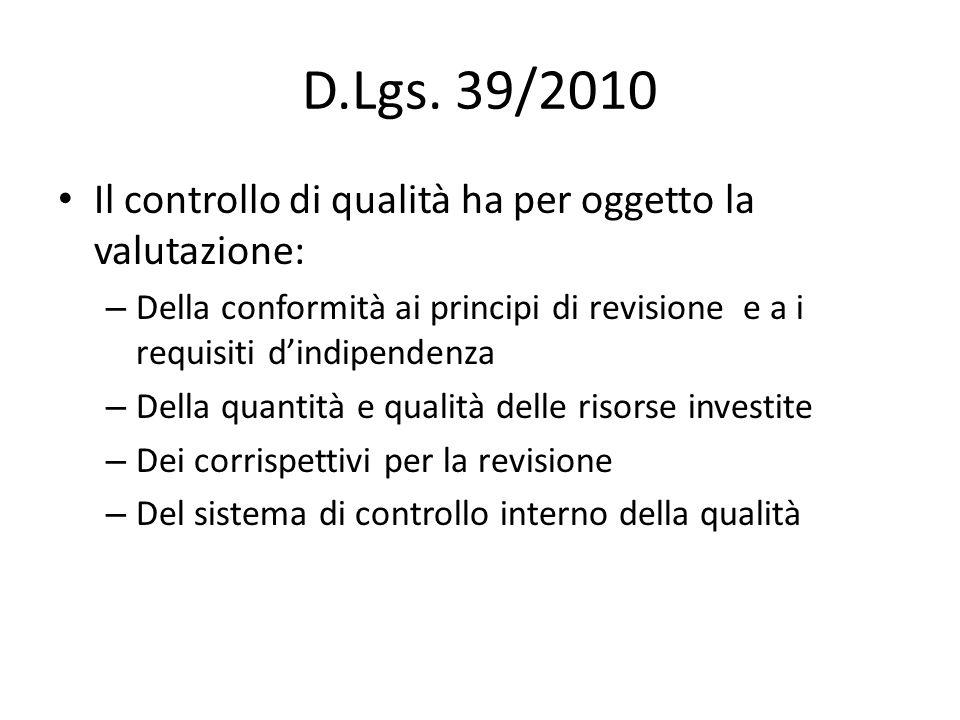D.Lgs. 39/2010 Il controllo di qualità ha per oggetto la valutazione: