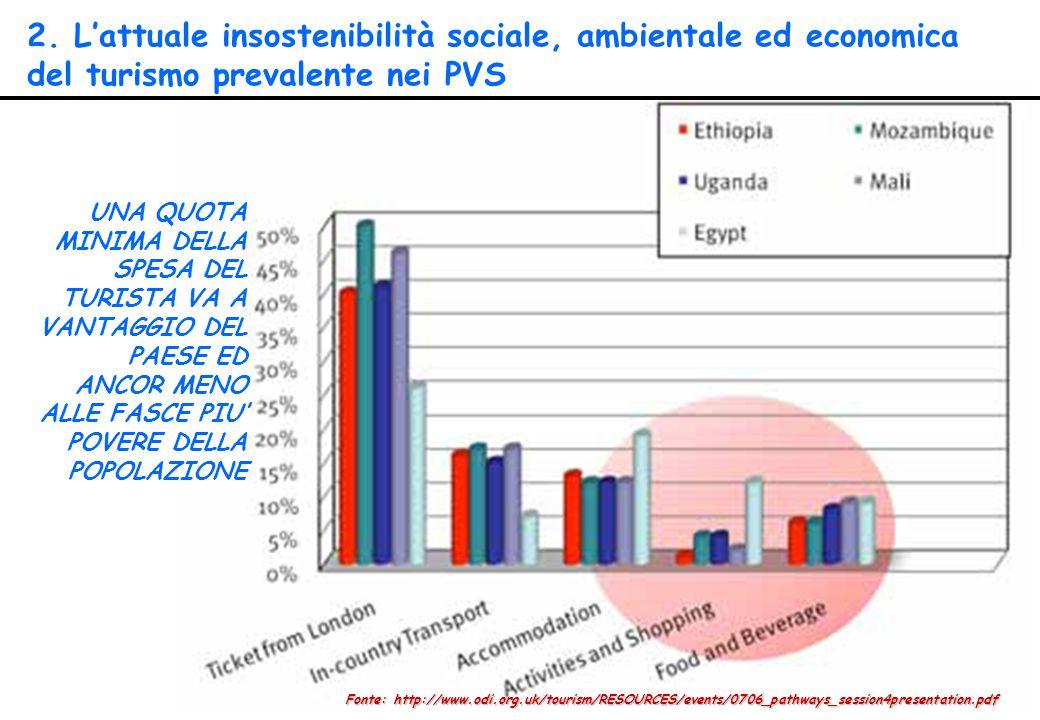 2. L'attuale insostenibilità sociale, ambientale ed economica del turismo prevalente nei PVS