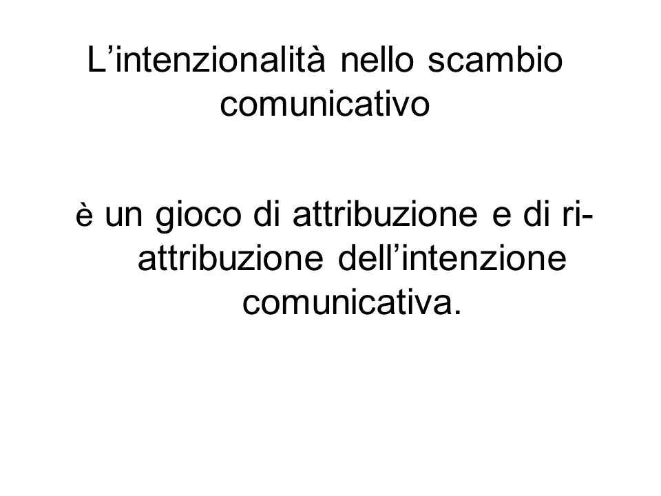 L'intenzionalità nello scambio comunicativo