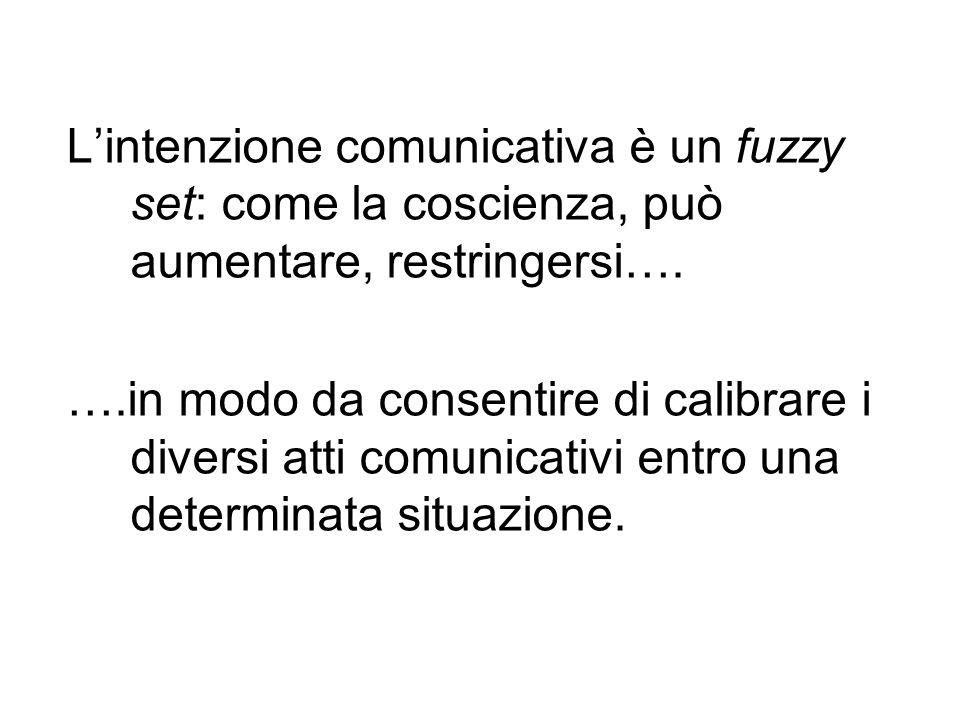 L'intenzione comunicativa è un fuzzy set: come la coscienza, può aumentare, restringersi….